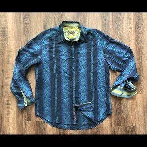 Robert Graham men's Shirt XL Silk Trim wild blue